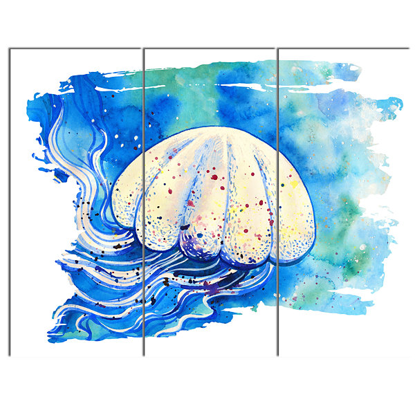 Design Art Jellyfish Watercolor Painting AbstractCanvas Art Print - 3 Panels