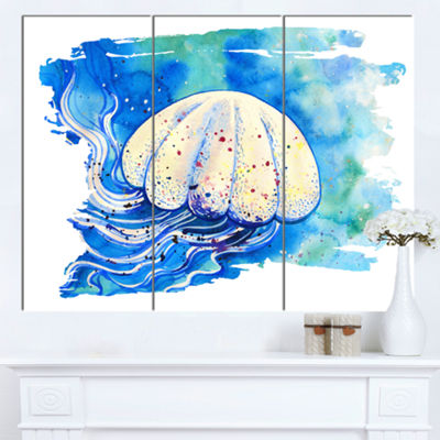 Designart Jellyfish Watercolor Painting AbstractCanvas Art Print - 3 Panels