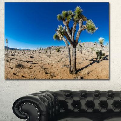 Design Art Joshua Tree In Open Desert Landscape Canvas Art Print - 3 Panels