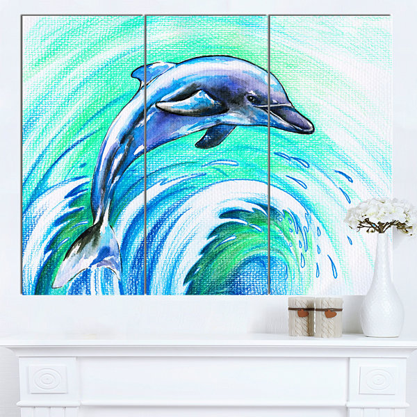 Design Art Jumping Dolphin Watercolor Animal Canvas Art Print - 3 Panels