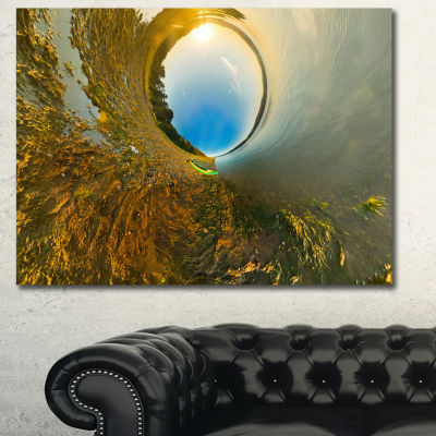 Designart Kayak In River Little Planet LandscapeCanvas Art Print - 3 Panels