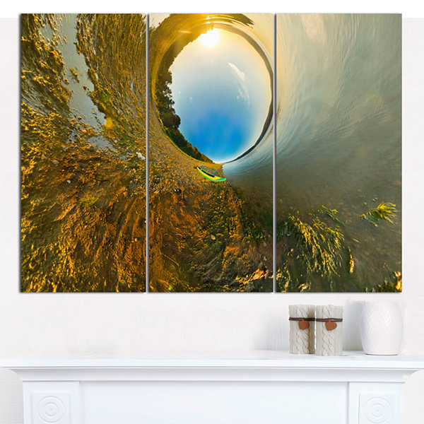 Design Art Kayak In River Little Planet LandscapeCanvas Art Print - 3 Panels