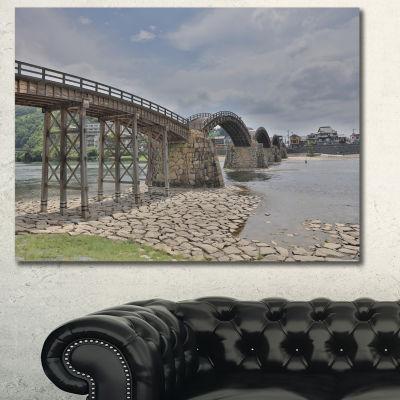 Designart Kintai Bridge In Iwakuni Yamaguchi Landscape Canvas Art Print - 3 Panels