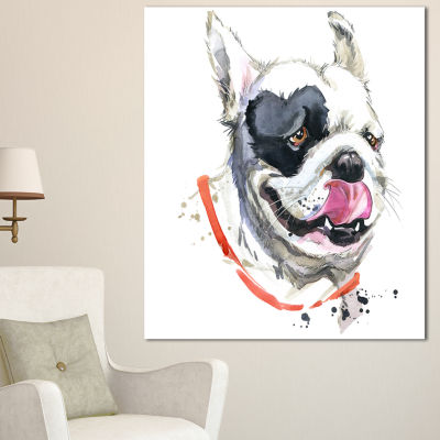 Designart Kiss French Bulldog Illustration AnimalCanvas Wall Art
