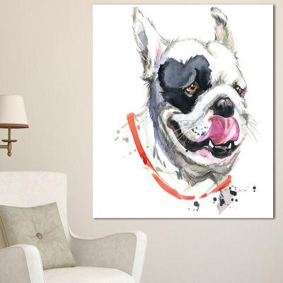 Designart Kiss French Bulldog Illustration AnimalCanvas Wall Art - 3 Panels