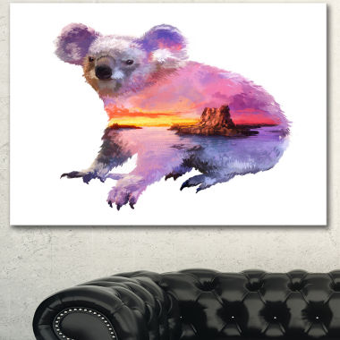 Designart Koala Double Exposure Illustration LargeAnimal Canvas Art Print