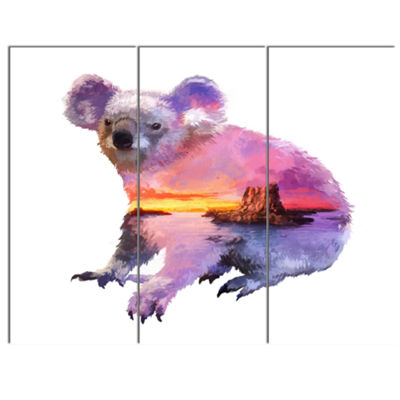 Designart Koala Double Exposure Illustration LargeAnimal Canvas Art Print - 3 Panels