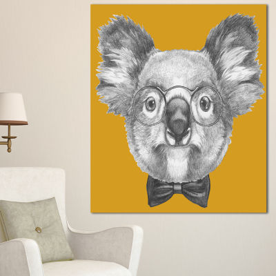 Design Art Koala With Glasses And Bow Tie Contemporary Animal Art Canvas - 3 Panels