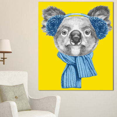 Designart Koala With Scarf And Earmuffs Animal Canvas Art Print