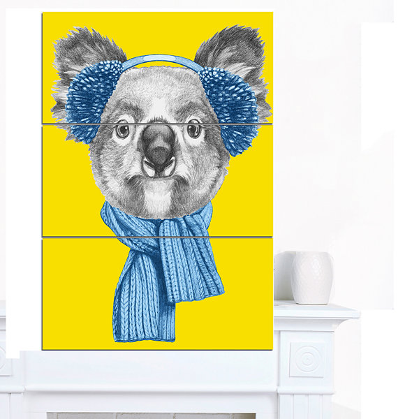 Designart Koala With Scarf And Earmuffs Animal Canvas Art Print - 3 Panels