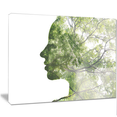 Designart Lady Combined With Green Tree PortraitCanvas Art Print