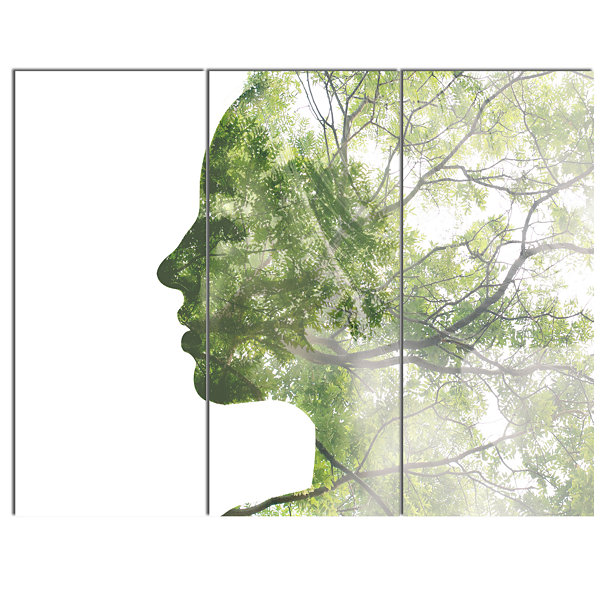 Designart Lady Combined With Green Tree PortraitCanvas Art Print - 3 Panels