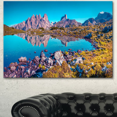 Designart Lago Rienza Ursprung Panorama Large Seashore Canvas Art Print - 3 Panels