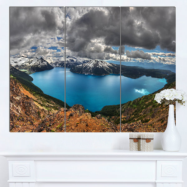 Designart Lake Surrounded By Mountains Extra LargeLandscape Canvas Art Print - 3 Panels