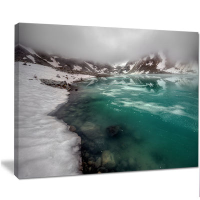 Designart Lake With Icy Topped Mountains Extra Large Landscape Canvas Art Print