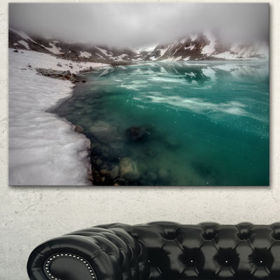 Designart Lake With Icy Topped Mountains Extra Large Landscape Canvas Art Print - 3 Panels