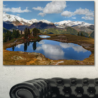 Designart Lake With Pine Trees Reflecting Sky Extra Large Landscape Canvas Art Print