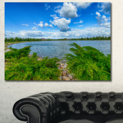 Designart Landscape With Green And Waters Landscape Canvas Art Print - 3 Panels