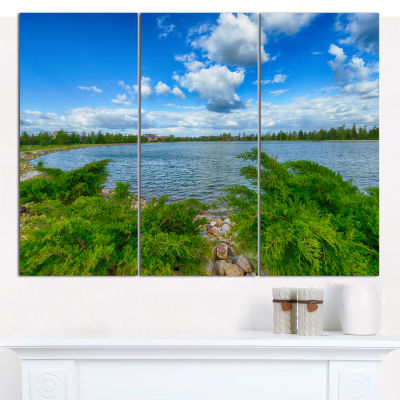 Design Art Landscape With Green And Waters Landscape Canvas Art Print - 3 Panels