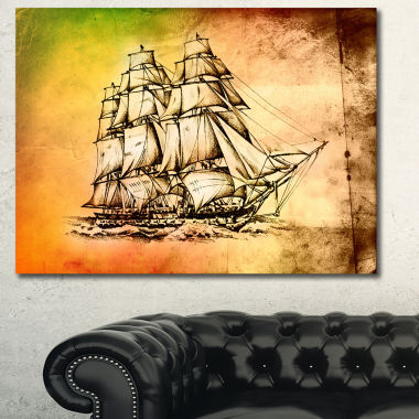 Design Art Large Ancient Moving Boat Seashore WallArt On Canvas
