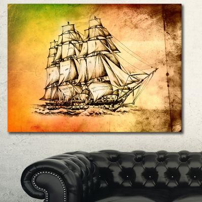 Designart Large Ancient Moving Boat Seashore WallArt On Canvas - 3 Panels