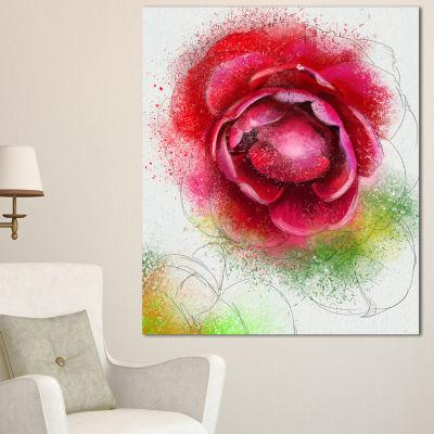 Design Art Large Blooming Red Rose On White FlowersCanvas Wall Artwork - 3 Panels