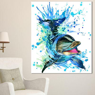 Designart Large Blue Dolphin Watercolor Contemporary Animal Art Canvas