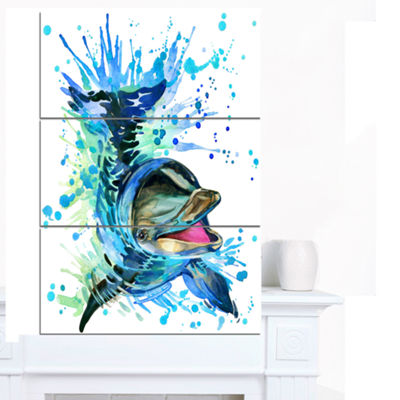 Designart Large Blue Dolphin Watercolor Contemporary Animal Art Canvas - 3 Panels