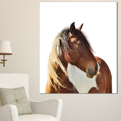Designart Large Brown Horse Illustration Animal Canvas Art Print - 3 Panels