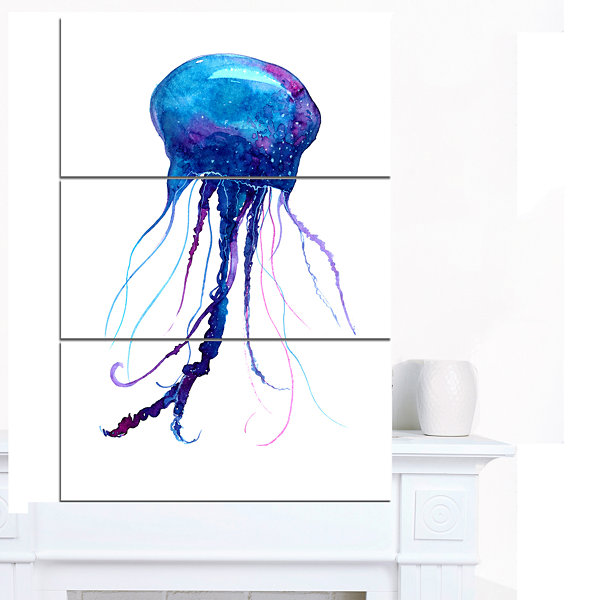 Designart Large Dark Blue Jellyfish Animal CanvasArt Print - 3 Panels