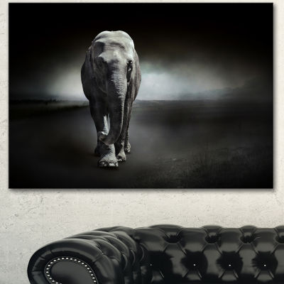 Designart Large Elephant On Black Animal Canvas Wall Art - 3 Panels