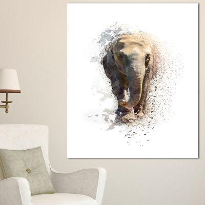Designart Large Elephant Portrait Animal Canvas Wall Art