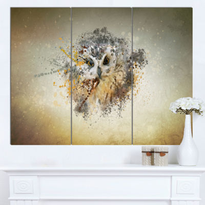 Designart Large Gracing Owl Animal Canvas Wall Art- 3 Panels