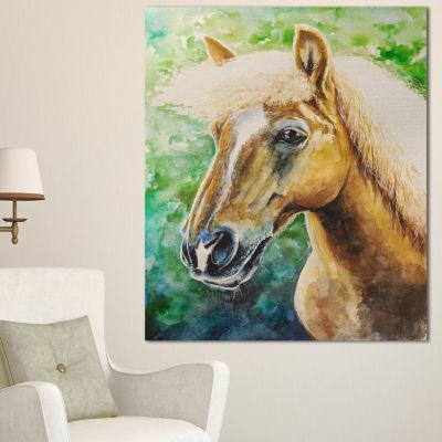 Designart Large Hafliner Horse Abstract Canvas ArtPrint - 3 Panels