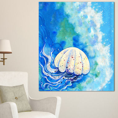 Designart Large Jellyfish Watercolor Abstract Canvas Art Print