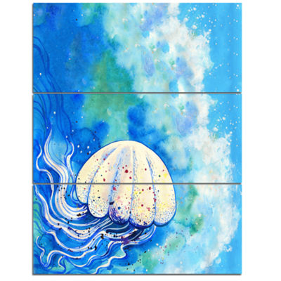 Designart Large Jellyfish Watercolor Abstract Canvas Art Print - 3 Panels