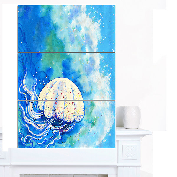 Design Art Large Jellyfish Watercolor Abstract Canvas Art Print - 3 Panels