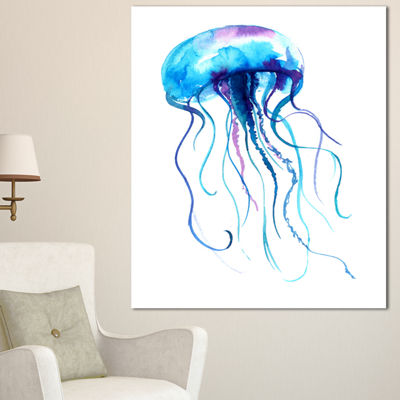 Designart Large Light Blue Jellyfish Animal CanvasArt Print - 3 Panels