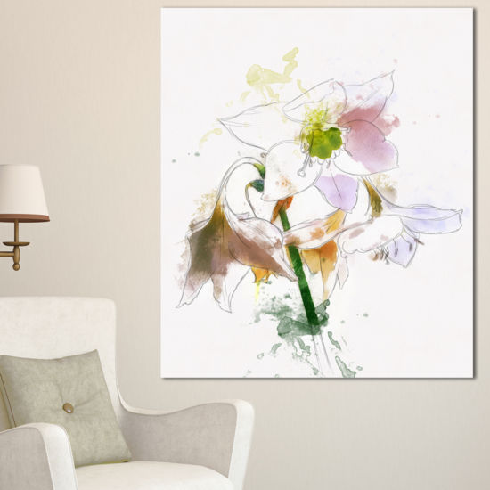 Designart Large Petal Watercolor Flower Sketch Floral Canvas Art Print