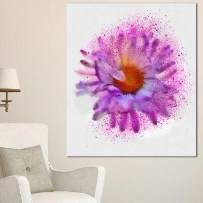Designart Large Purple Watercolor Flower Floral Canvas Art Print