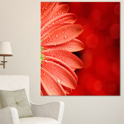 Design Art Large Red Flower Petals On Red Floral Canvas Art Print