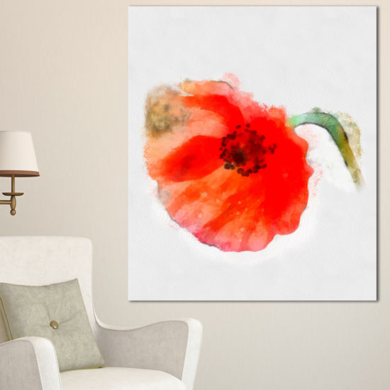 Designart Large Red Poppy On White Back Flower Artwork On Canvas