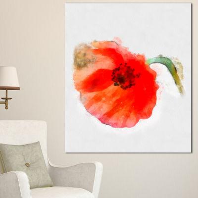 Designart Large Red Poppy On White Back Flower Artwork On Canvas - 3 Panels