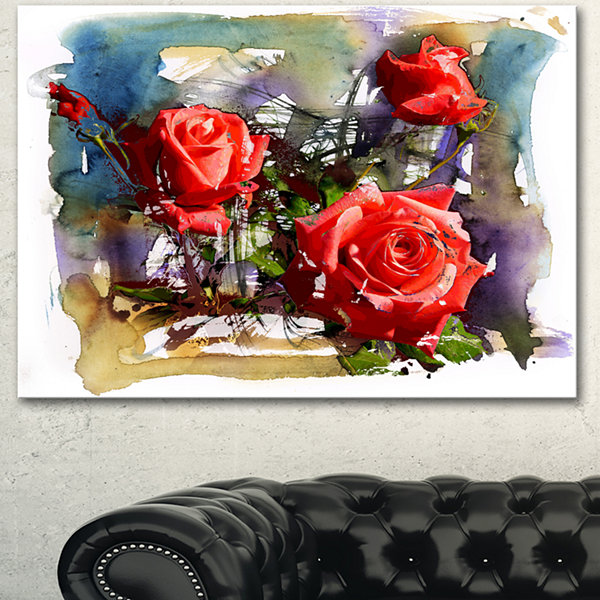 Designart Large Red Roses Composition Floral ArtCanvas Print - 3 Panels