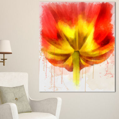 Designart Large Red Yellow Flower Watercolor LargeFloral Canvas Artwork