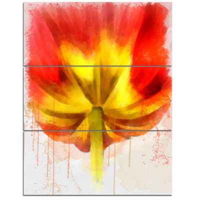 Designart Large Red Yellow Flower Watercolor LargeFloral Canvas Artwork - 3 Panels