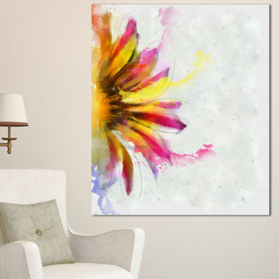 Designart Large Sunflower Sketch Watercolor FloralCanvas Art Print