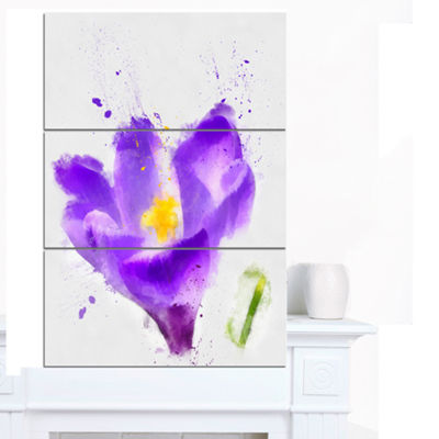 Designart Large Violet Crocus Watercolor Large Floral Canvas Artwork - 3 Panels
