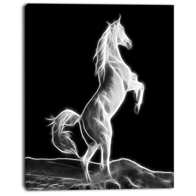 Designart Large White Horse Sculpture Animal Canvas Art Print