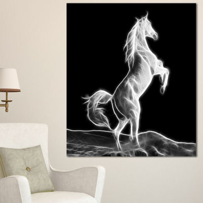 Designart Large White Horse Sculpture Animal Canvas Art Print - 3 Panels